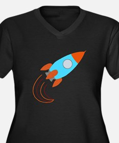 Orange and Blue Rocket Ship Plus Size T-Shirt