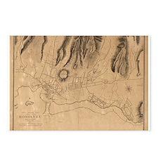 1887. Honolulu Map Postcards (Package of 8)