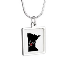 Minnesota Love Silver Square Necklace