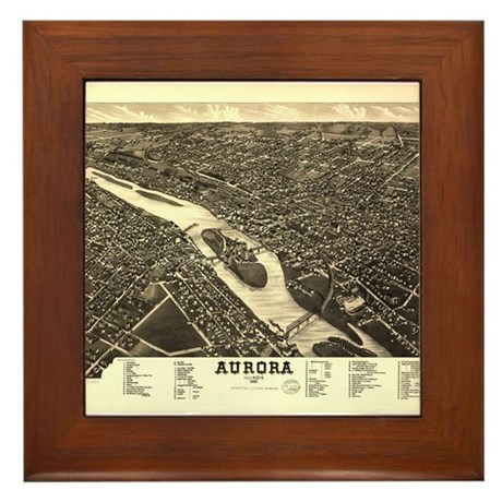 Aurora IL. Antique map. Framed Tile