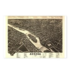 Aurora IL. Antique map. Postcards (Package of 8)