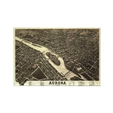 Aurora IL. Antique map. Rectangle Magnet