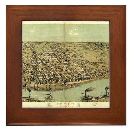 1867. Alton antique map. Framed Tile