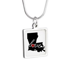 Louisiana Love Silver Square Necklace