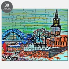 St Mary's and the Tyne Bridge in winter Puzzle