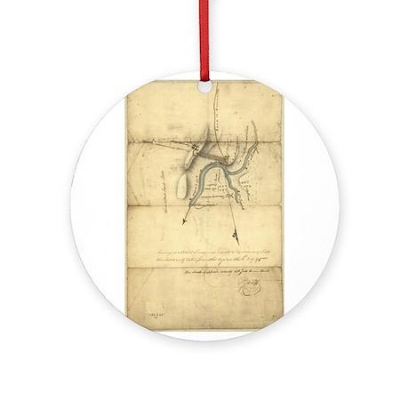 1795 Fort Wayne antique map Ornament (Round)