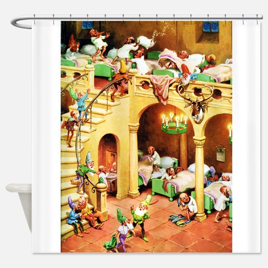 Santa's Elves at the North Pole Shower Curtain