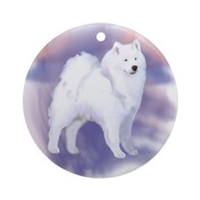 Samoyed blue and pink Ornament (Round)