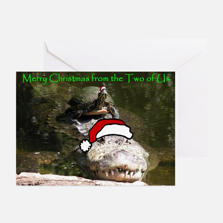 Turtle and Gator Christmas Greeting Cards
