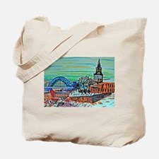 St Mary's and the Tyne Bridge in winter Tote Bag