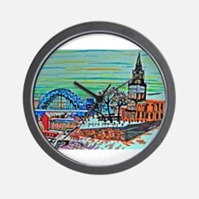 St Mary's and the Tyne Bridge in winter Wall Clock