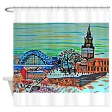 St Mary's and the Tyne Bridge in wi Shower Curtain