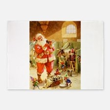 Santa in His North Pole Stables 5'x7'Area Rug