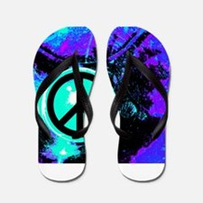 Black Abstract Peace Flip Flops