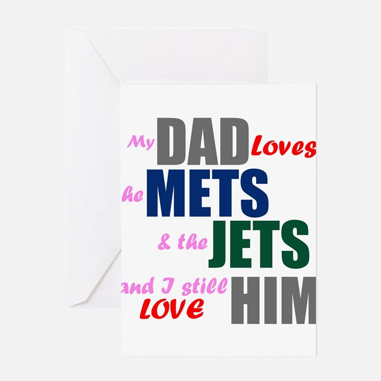 My Dad Loves the Mets & Jets Greeting Cards