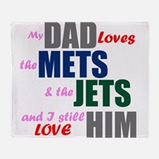 My Dad Loves the Mets & Jets Throw Blanket