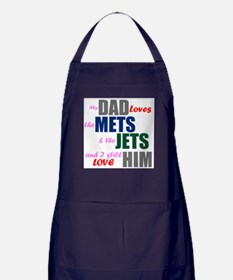My Dad Loves the Mets & Jets Apron (dark)