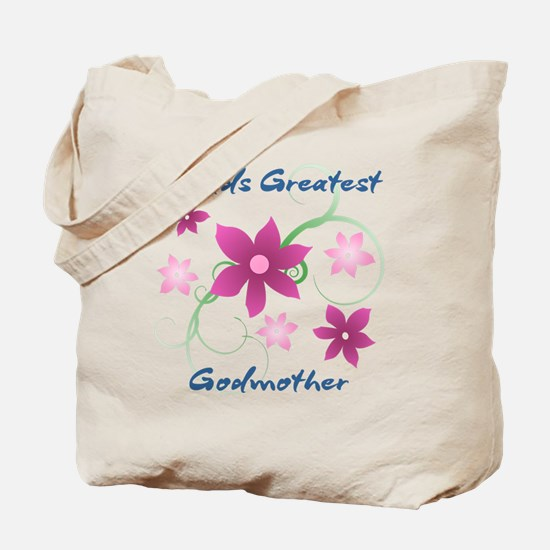 World's Greatest Godmother (Flowery) Tote Bag