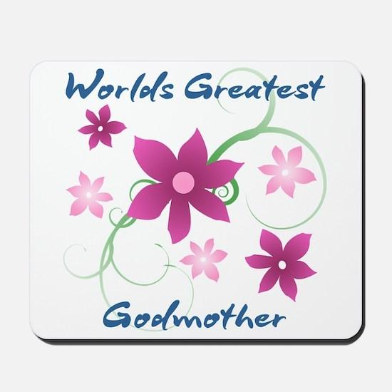 World's Greatest Godmother (Flowery) Mousepad