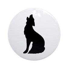 Howling Wolf Icon Ornament (Round)