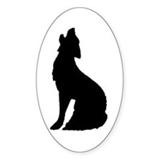 Howling Wolf Icon Oval Decal