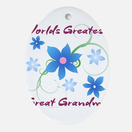 World's Greatest Great Grandma (Fl Ornament (Oval)