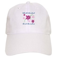World's Greatest Great Grandma (Flowery) Baseball Cap