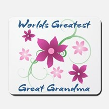 World's Greatest Great Grandma (Flowery) Mousepad