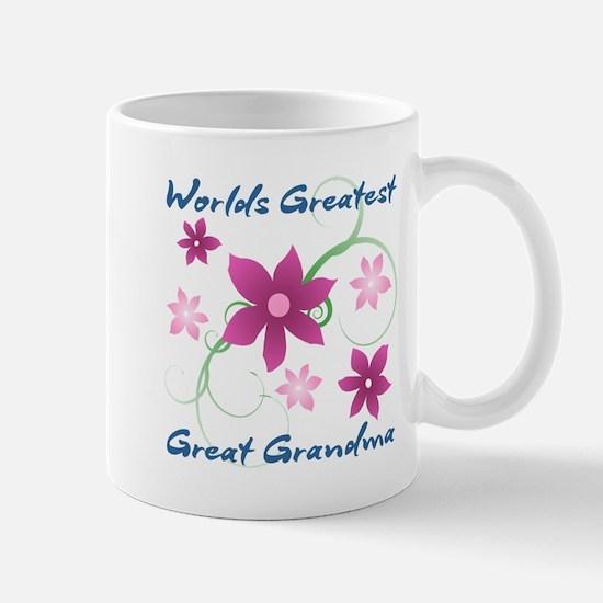 World's Greatest Great Grandma (Flowery) Mugs