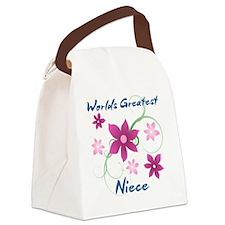 World's Greatest Niece (Flowery) Canvas Lunch Bag