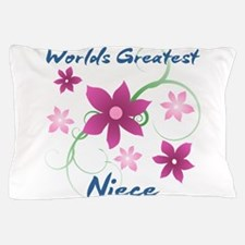 World's Greatest Niece (Flowery) Pillow Case