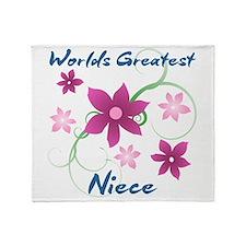 World's Greatest Niece (Flowery) Throw Blanket