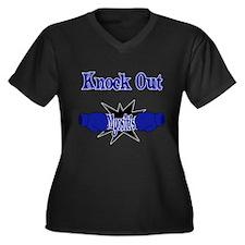 Knock Out Myositis blue.png Plus Size T-Shirt