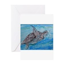 Sea turtle, wildlife art Greeting Cards