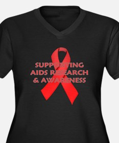 ...Aids Research... Women's Plus Size V-Neck Dark
