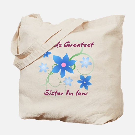 World's Greatest Sister-In-Law (Flowery) Tote Bag