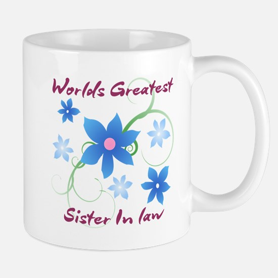 World's Greatest Sister-In-Law (Flowery) Mugs