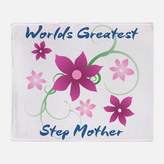 World's Greatest Step Mother (Flower Throw Blanket