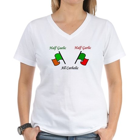 Half Gaelic Half Garlic Women's V-Neck T-Shirt