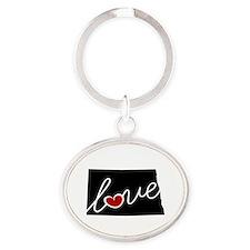 North Dakota Love Oval Keychain