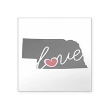 "Nebraska Love Square Sticker 3"" x 3"""