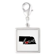 Nebraska Love Silver Square Charm