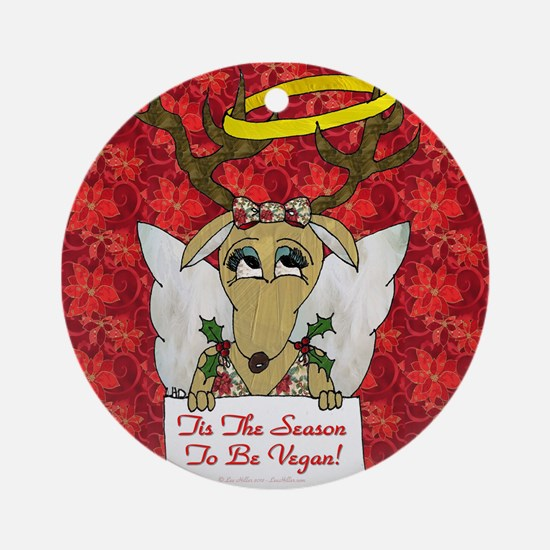 Vegan Reindeer Angel Ornament (Round)