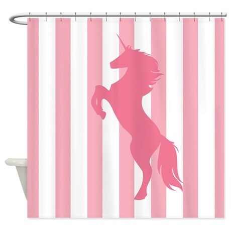 Pink unicorn fantasy shower curtain by mainstreethomewares for Fantasy shower curtains