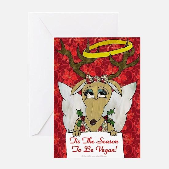 Vegan Reindeer Angel Greeting Cards