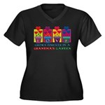 Grandma's Garden Women's Plus Size V-Neck Dark T-S