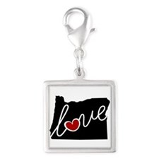 Oregon Love Silver Square Charm