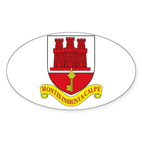 Gibraltar Coat of Arms Oval Sticker