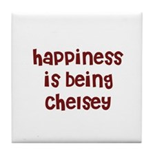happiness is being Chelsey Tile Coaster