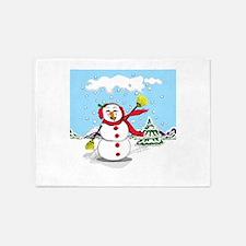 Adorable Snowman 5'x7'Area Rug